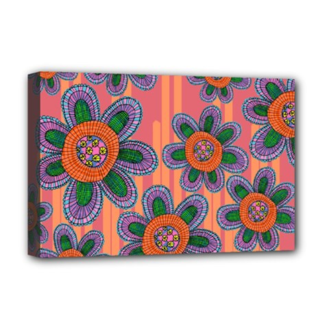 Colorful Floral Dream Deluxe Canvas 18  x 12