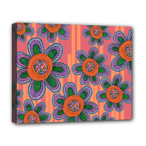 Colorful Floral Dream Deluxe Canvas 20  X 16