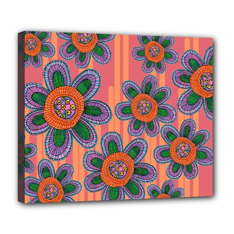 Colorful Floral Dream Deluxe Canvas 24  x 20