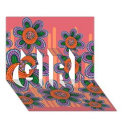 Colorful Floral Dream Girl 3d Greeting Card (7x5)