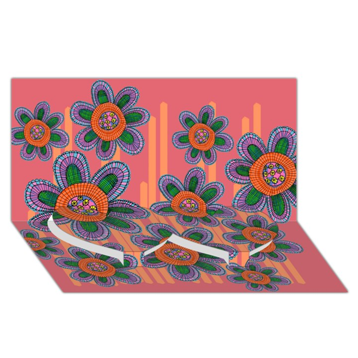 Colorful Floral Dream Twin Heart Bottom 3D Greeting Card (8x4)