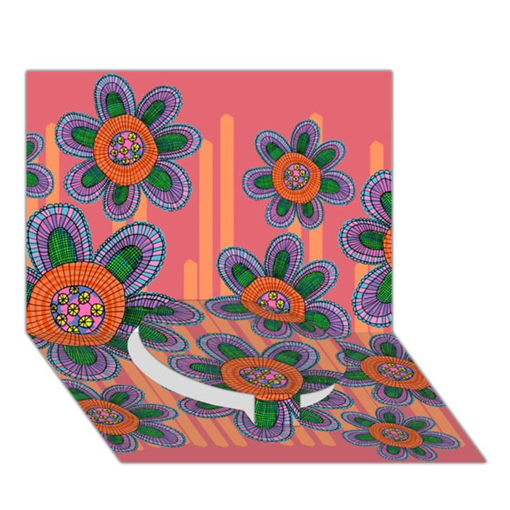 Colorful Floral Dream Circle Bottom 3D Greeting Card (7x5)