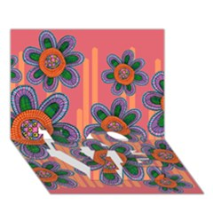 Colorful Floral Dream Love Bottom 3d Greeting Card (7x5)