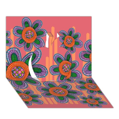 Colorful Floral Dream Apple 3D Greeting Card (7x5)
