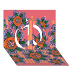 Colorful Floral Dream Peace Sign 3d Greeting Card (7x5)