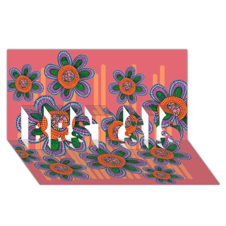 Colorful Floral Dream BEST SIS 3D Greeting Card (8x4)