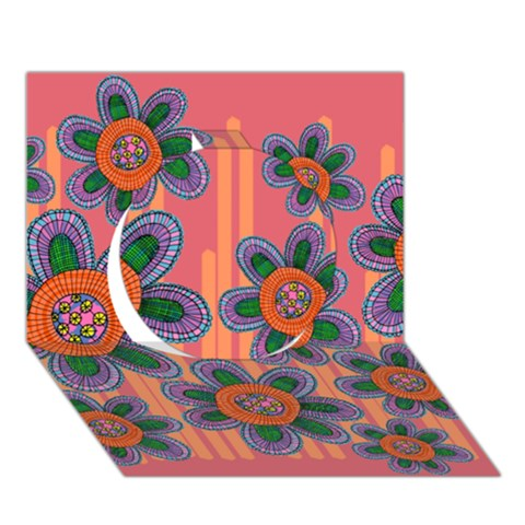 Colorful Floral Dream Circle 3D Greeting Card (7x5)