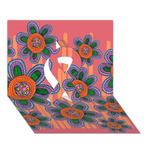 Colorful Floral Dream Ribbon 3D Greeting Card (7x5)