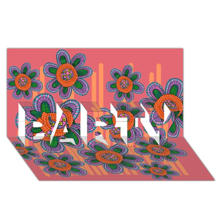 Colorful Floral Dream PARTY 3D Greeting Card (8x4)