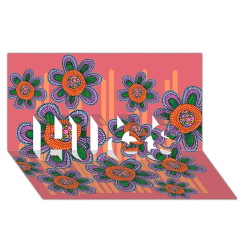 Colorful Floral Dream HUGS 3D Greeting Card (8x4)