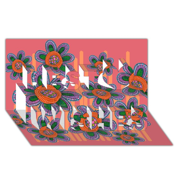 Colorful Floral Dream Best Wish 3D Greeting Card (8x4)