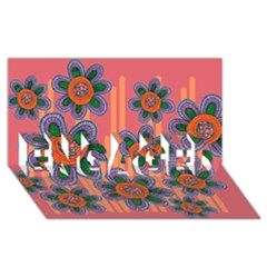 Colorful Floral Dream ENGAGED 3D Greeting Card (8x4)