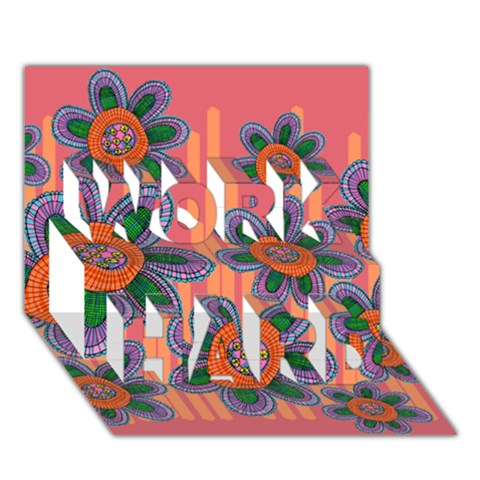 Colorful Floral Dream WORK HARD 3D Greeting Card (7x5)