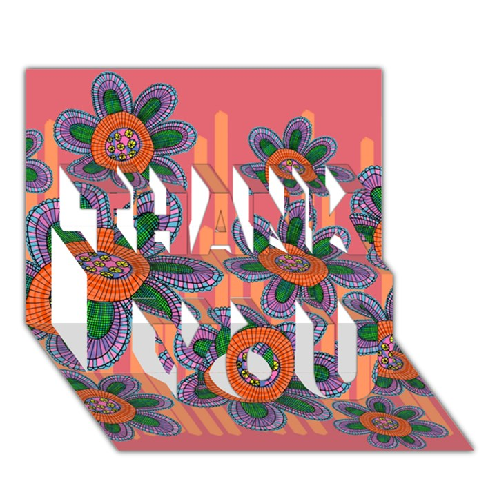 Colorful Floral Dream THANK YOU 3D Greeting Card (7x5)