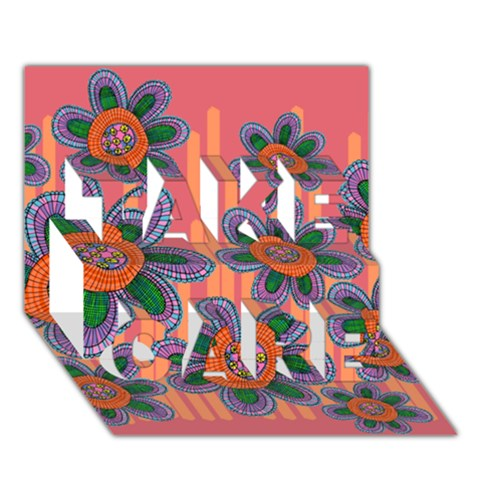 Colorful Floral Dream TAKE CARE 3D Greeting Card (7x5)