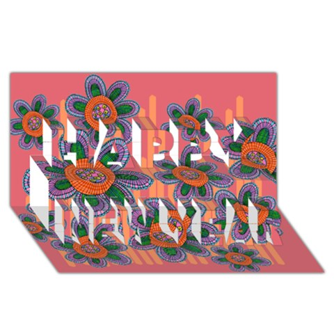 Colorful Floral Dream Happy New Year 3D Greeting Card (8x4)