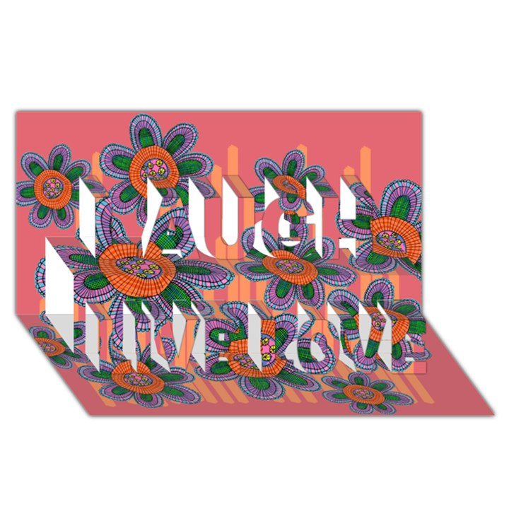 Colorful Floral Dream Laugh Live Love 3D Greeting Card (8x4)