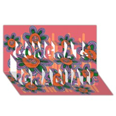Colorful Floral Dream Congrats Graduate 3D Greeting Card (8x4)