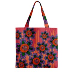 Colorful Floral Dream Zipper Grocery Tote Bag