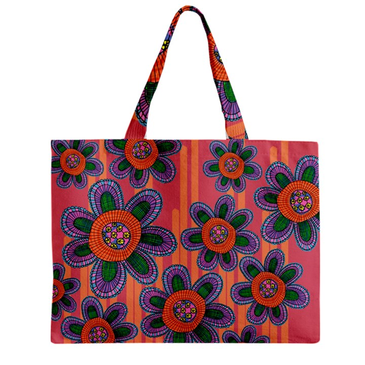 Colorful Floral Dream Zipper Mini Tote Bag