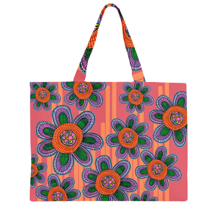 Colorful Floral Dream Large Tote Bag