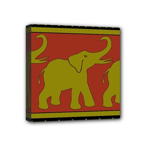 Elephant Pattern Mini Canvas 4  x 4