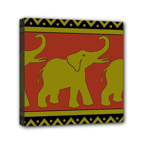 Elephant Pattern Mini Canvas 6  x 6