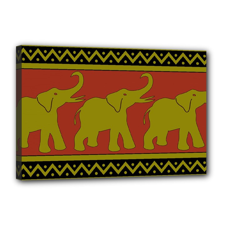 Elephant Pattern Canvas 18  x 12