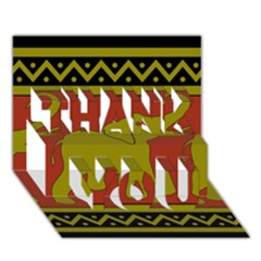Elephant Pattern THANK YOU 3D Greeting Card (7x5)
