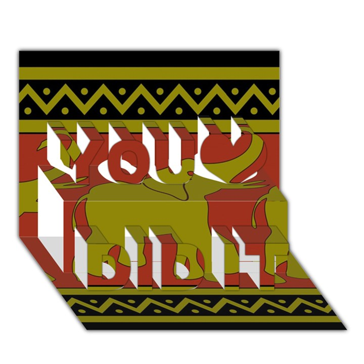 Elephant Pattern You Did It 3D Greeting Card (7x5)