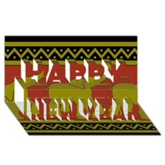 Elephant Pattern Happy New Year 3D Greeting Card (8x4)