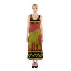 Elephant Pattern Sleeveless Maxi Dress