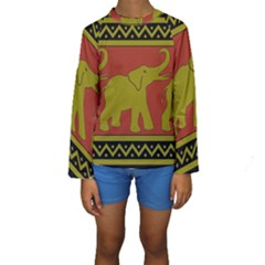 Elephant Pattern Kids  Long Sleeve Swimwear