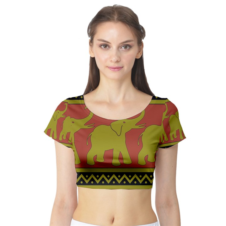 Elephant Pattern Short Sleeve Crop Top (Tight Fit)