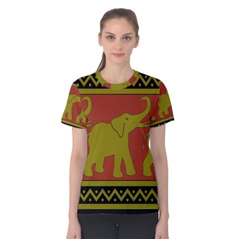Elephant Pattern Women s Cotton Tee