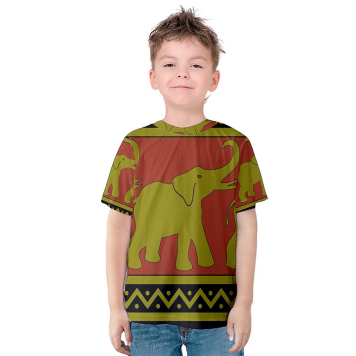 Elephant Pattern Kids  Cotton Tee