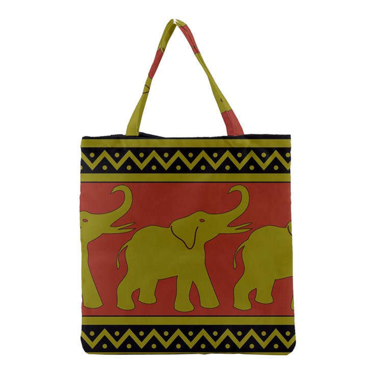 Elephant Pattern Grocery Tote Bag