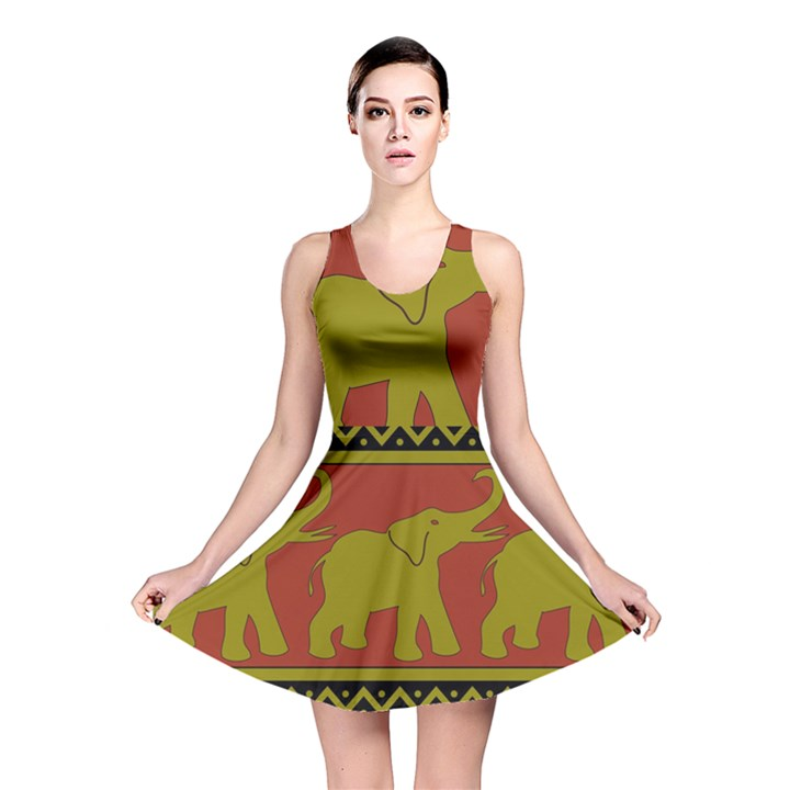 Elephant Pattern Reversible Skater Dress
