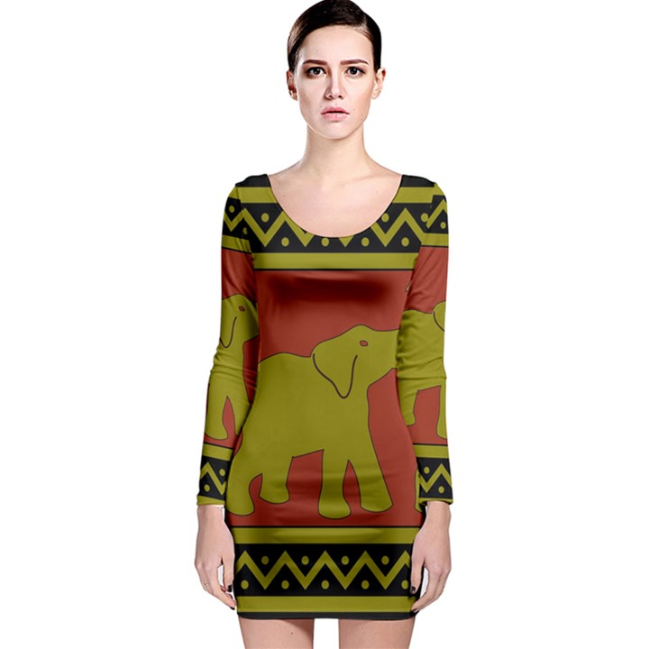 Elephant Pattern Long Sleeve Bodycon Dress