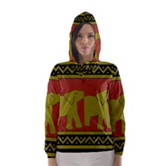Elephant Pattern Hooded Wind Breaker (Women)