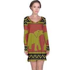 Elephant Pattern Long Sleeve Nightdress