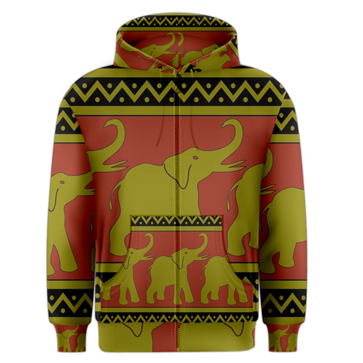 Elephant Pattern Men s Zipper Hoodie