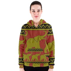 Elephant Pattern Women s Zipper Hoodie