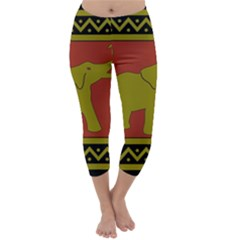 Elephant Pattern Capri Winter Leggings