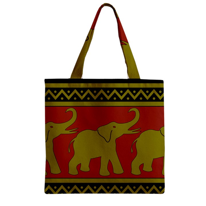 Elephant Pattern Zipper Grocery Tote Bag