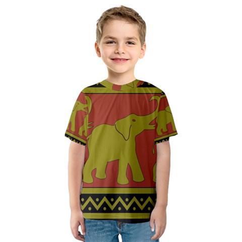 Elephant Pattern Kids  Sport Mesh Tee