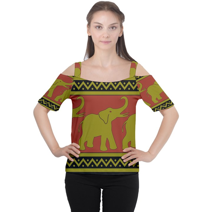 Elephant Pattern Women s Cutout Shoulder Tee