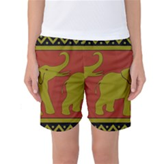 Elephant Pattern Women s Basketball Shorts