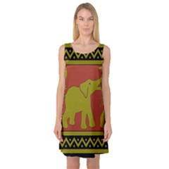Elephant Pattern Sleeveless Satin Nightdress