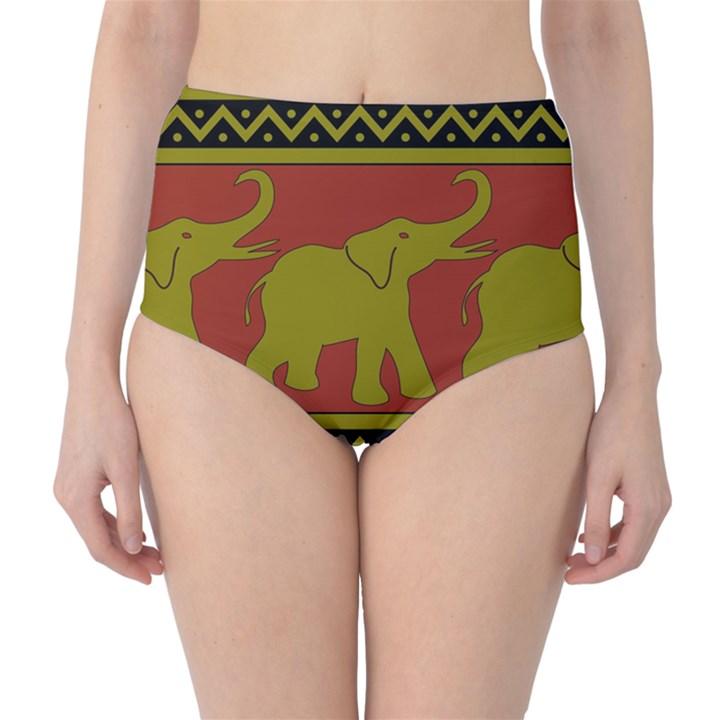 Elephant Pattern High-Waist Bikini Bottoms
